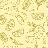 Modelo inconsútil de la infusión de hierbas con el limón del gingerand Imagenes de archivo