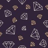 Modelo inconsútil de la joyería, línea ejemplo de los diamantes Iconos del vector de brilliants Fondo repetido oscuridad de la ti stock de ilustración