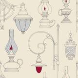 Modelo inconsútil de la lámpara del vintage del vector Foto de archivo libre de regalías