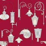 Modelo inconsútil de la lámpara del vintage del vector Imágenes de archivo libres de regalías