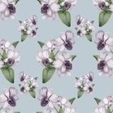 Modelo inconsútil de la lila del vintage a mano de la orquídea Fotos de archivo