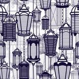 Modelo inconsútil de la linterna del vintage del vector Luz antigua clásica Diseño retro antiguo de la lámpara Silueta tradiciona ilustración del vector