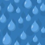 Modelo inconsútil de la lluvia Fondo del vector de los descensos del agua azul Imagenes de archivo