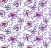 Modelo inconsútil de la luz Violet Flowers de la acuarela Fotos de archivo