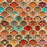 Modelo inconsútil de la mandala floral étnica Fondo colorido del mosaico Imagen de archivo libre de regalías