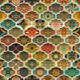 Modelo inconsútil de la mandala floral étnica Fondo colorido del mosaico Imagen de archivo