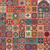 Modelo inconsútil de la mandala floral étnica Fondo colorido del mosaico Fotos de archivo libres de regalías