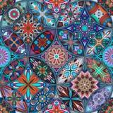 Modelo inconsútil de la mandala floral étnica Fondo colorido del mosaico Foto de archivo