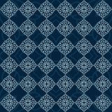 Modelo inconsútil de la mandala hermosa en fondo azul stock de ilustración