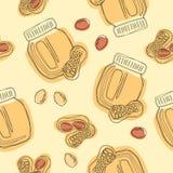 Modelo inconsútil de la mantequilla de cacahuetes Tarro de mantequilla de cacahuetes foto de archivo libre de regalías