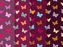 Modelo inconsútil de la mariposa Conjunto de modelos inconsútiles Mariposas multicoloras stock de ilustración
