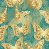 Modelo inconsútil de la mariposa de oro Diseño de lujo, joyería costosa Foto de archivo