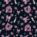 Modelo inconsútil de la moda del encanto en color rosado en fondo negro stock de ilustración