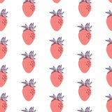 Modelo inconsútil de la moda de fresas rojas Ejemplo exhausto de la mano del vector fijado en el estilo plano de moda moderno par stock de ilustración