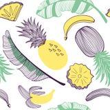 Modelo inconsútil de la moda de plátanos y de la piña Fruta, hoja, rebanada Ejemplo exhausto de la mano del vector fijado en plan stock de ilustración