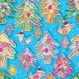 Modelo inconsútil de la mosca de Navidad del pájaro del árbol de pino de la Navidad Foto de archivo