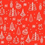 Modelo inconsútil de la Navidad Árbol de navidad, decoraciones, campanas Imagen de archivo libre de regalías