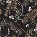 Modelo inconsútil de la Navidad de la acuarela del invierno con las ramas de árbol ilustración del vector