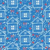 Modelo inconsútil de la Navidad azul y roja foto de archivo