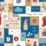 Modelo inconsútil de la Navidad con diversas muestras en la Navidad y el Año Nuevo stock de ilustración