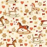Modelo inconsútil de la Navidad con el caballo mecedora, árbol de navidad, velas, arcos rojos, pan de jengibre, bayas, campanas d Fotos de archivo libres de regalías