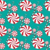 Modelo inconsútil de la Navidad con el caramelo Fotos de archivo libres de regalías