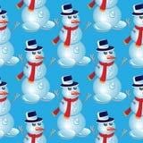 Modelo inconsútil de la Navidad con el muñeco de nieve Imagen de archivo
