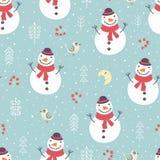 Modelo incons?til de la Navidad con el mu?eco de nieve, los ?rboles y los copos de nieve lindos libre illustration