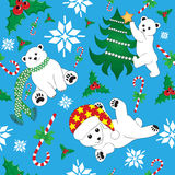 Modelo inconsútil de la Navidad con el oso polar Foto de archivo