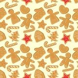 Modelo inconsútil de la Navidad con las galletas del jengibre stock de ilustración