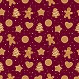 Modelo inconsútil de la Navidad con las galletas del pan de jengibre ilustración del vector