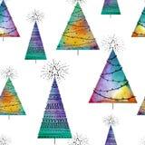 Modelo inconsútil de la Navidad con los árboles del vector de la acuarela y los elementos a mano en el fondo blanco Colofrul sin  ilustración del vector