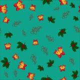 Modelo inconsútil de la Navidad con los cascabeles, las hojas del acebo y las letras de la Feliz Navidad en fondo verde, Foto de archivo libre de regalías