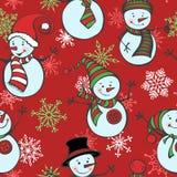 Modelo inconsútil de la Navidad con los muñecos de nieve y los copos de nieve stock de ilustración