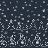 Modelo inconsútil de la Navidad con los muñecos de nieve, el árbol de abeto y los copos de nieve Imágenes de archivo libres de regalías