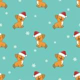 Modelo inconsútil de la Navidad con los perritos lindos en los sombreros de Papá Noel ilustración del vector