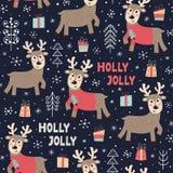 Modelo incons?til de la Navidad con un ciervo lindo stock de ilustración