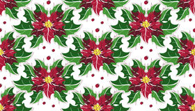 Modelo inconsútil de la Navidad de la poinsetia de la flor Imagen de archivo