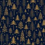 Modelo inconsútil de la Navidad del oro del invierno para el papel de empaquetado del diseño, postal, materias textiles ilustración del vector