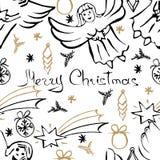 Modelo inconsútil de la Navidad del vector Fondo dibujado mano Fotos de archivo libres de regalías