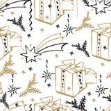 Modelo inconsútil de la Navidad del vector Fondo dibujado mano Imagen de archivo