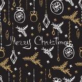 Modelo inconsútil de la Navidad del vector Fondo dibujado mano Fotografía de archivo
