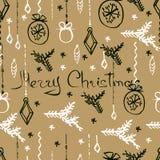 Modelo inconsútil de la Navidad del vector Fondo dibujado mano Foto de archivo