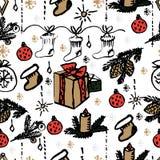Modelo inconsútil de la Navidad del vector Fondo dibujado mano Fotografía de archivo libre de regalías