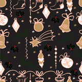 Modelo inconsútil de la Navidad del vector Fondo dibujado mano Imagen de archivo libre de regalías