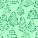 Modelo inconsútil de la Navidad linda con el árbol de navidad y el decorat Imagen de archivo libre de regalías