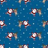 Modelo inconsútil de la Navidad Papá Noel y del reno repetible, fondo continuo de Rudolph para la celebración del día de fiesta foto de archivo