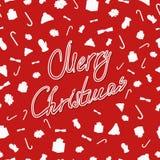 Modelo inconsútil de la Navidad roja festiva con los elementos de la Navidad stock de ilustración