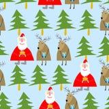 Modelo inconsútil de la Navidad Santa Claus y reno con los regalos Imagen de archivo libre de regalías