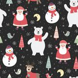 Modelo incons?til de la noche de la Navidad con los caracteres lindos: oso polar, Santa Claus libre illustration